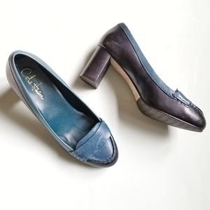 Cole Haan [7] Blue Black Leather Oxford Heels